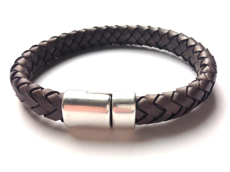 heren armband leer antraciet - | nova-style.nl | trendy sieraden en